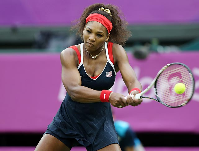 Serena Williams flexed her tennis prowess, defeating Vera Zvonareva of Russia during the third-round match.