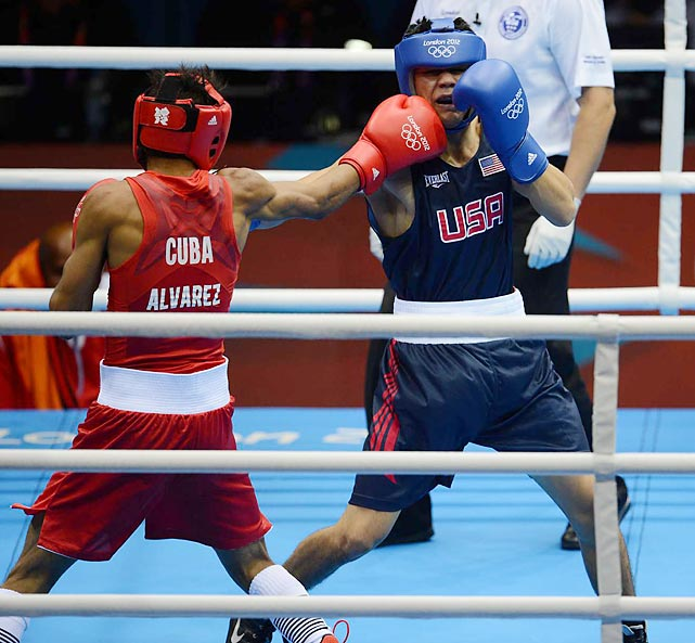 Lazaro Alvarez Estrada of Cuba defeated American boxer Joseph Diaz Jr. during their Bantamweight (56kg) match.