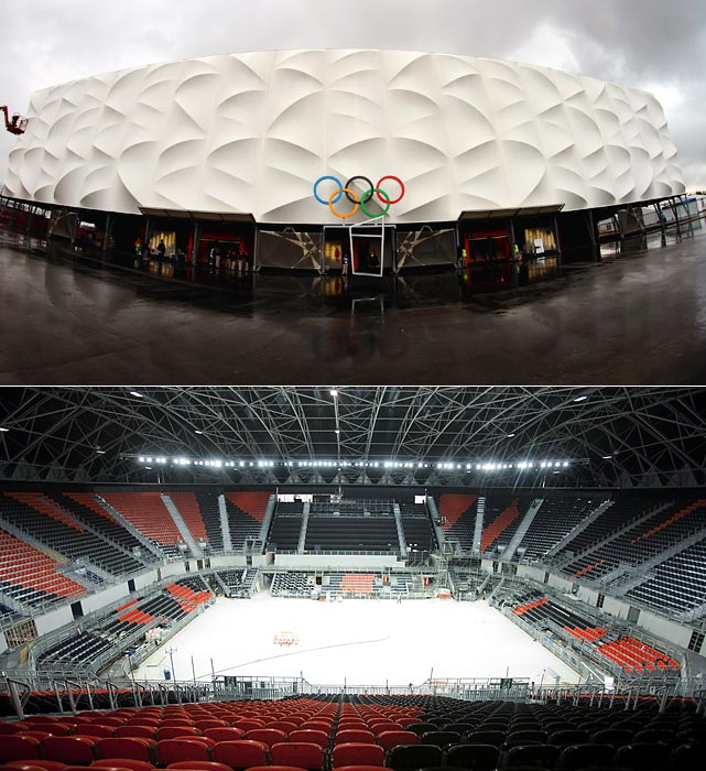 If you didn't think steel and PVC could look interesting, check out the temporary basketball arena, one of the largest temporary structures ever built for the Olympics. Inside, 12,000 spectators can watch the Olympic basketball tournament and the handball finals.