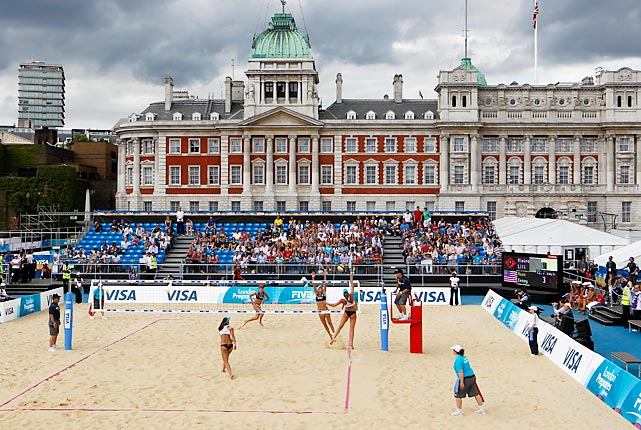 "While the venue doesn't serve as a striking architectural display, the backdrop to the beach volleyball event certainly adds plenty of intrigue. Located at Horse Guards Parade, across St. James's Park from Buckingham Palace and near Downing Street, the ""beach"" features a skyline of historic buildings."