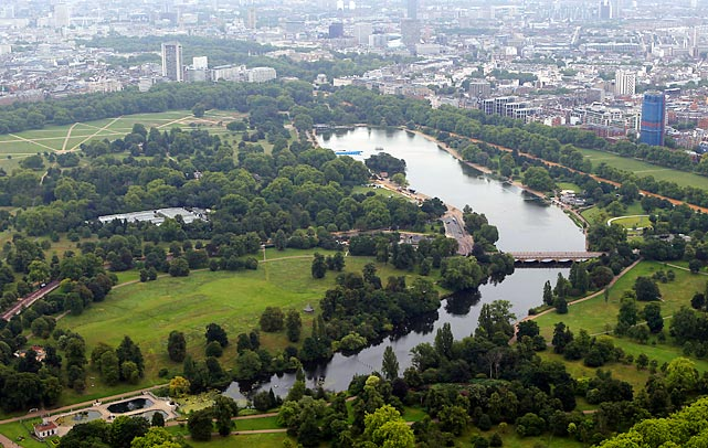 A grandstand will afford spectators the chance to watch marathon swimming and the triathlon finish within Hyde Park, easy walking distance from London's famed West End.