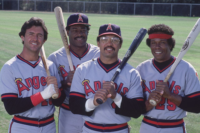 Jackson poses with California Angels teammates during baseball spring training in 1982.
