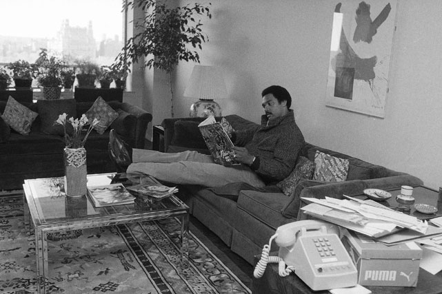 Jackson, who was inducted into the Hall of Fame in 1993, relaxes in his New York apartment during his first year playing for the Yankees.