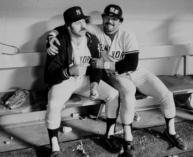 "Jackson embraces Jim ""Catfish"" Hunter during the 8th inning of Game 6 in the 1978 World Series. Hall of Famer Hunter died at 53 after a battle against a disease named after another Yankee, Lou Gehrig."