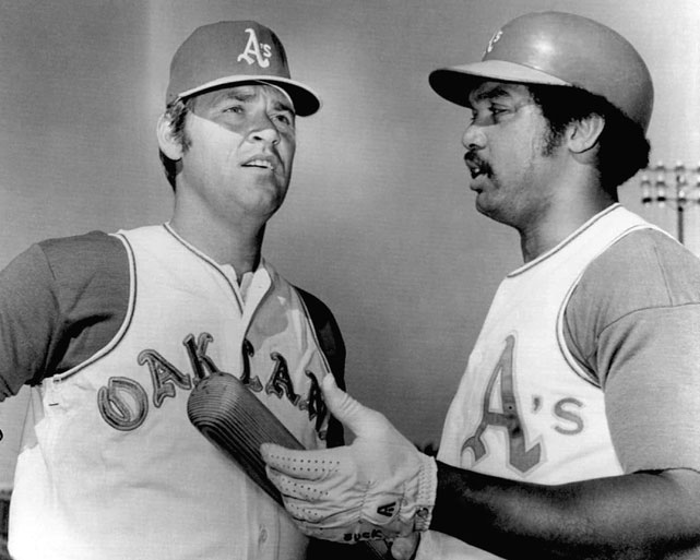 Danny McClain (left) made his first appearance in an Oakland A's uniform in 1972. While most of the team had a day off, Reggie Jackson spent the day at extra batting practice and was able to greet McClain.