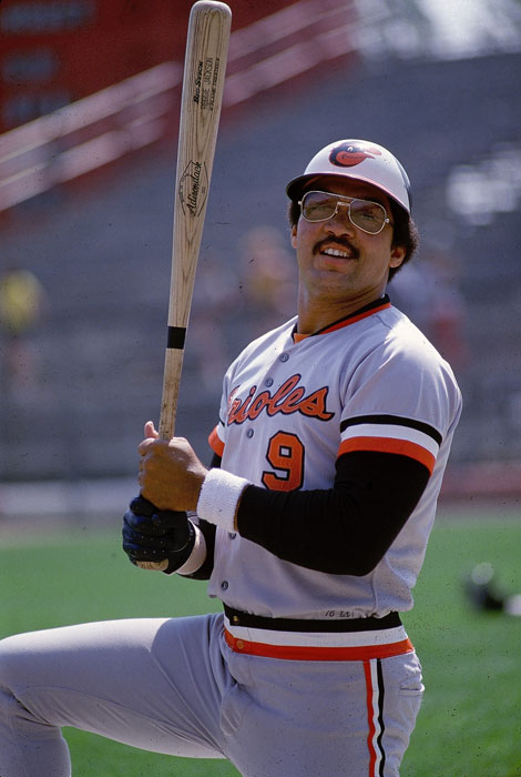 Jackson, playing for the Baltimore Orioles and sporting his famous No. 9, prepares for a game against the Minnesota Twins.