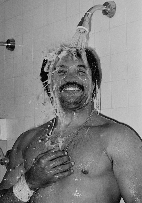 Jackson rinses the champagne from his head after the Yankees defeated the Dodgers 7-2 to win the 1978 World Series.
