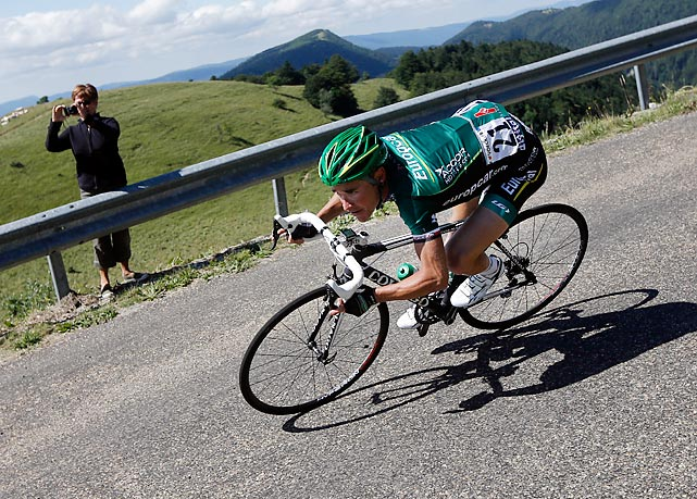 France's Thomas Voeckler led a five-rider breakaway to win the 10th stage of the Tour de France as the race entered the Alps on Wednesday.