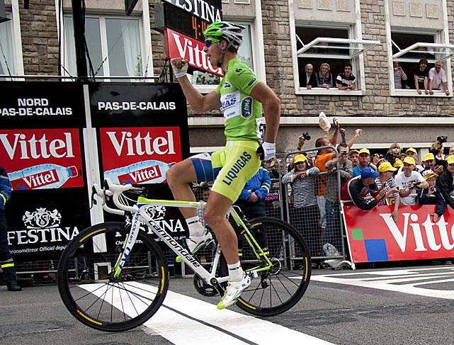 "Peter Sagan picked up his second stage win of the Tour, besting Michael Albinsini in the final sprint. The 22-year-old Slovakian called his finish line dance an ""homage to Forrest Gump."""