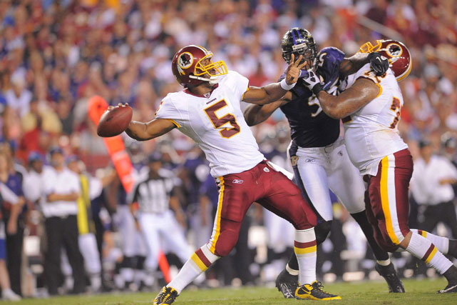 Former Washington Redskins quarterback Donovan McNabb winds up for a deep pass against the Baltimore Ravens.  McNabb would only play one season in Washington--passing for 3, 377 yards and 14 touchdowns.
