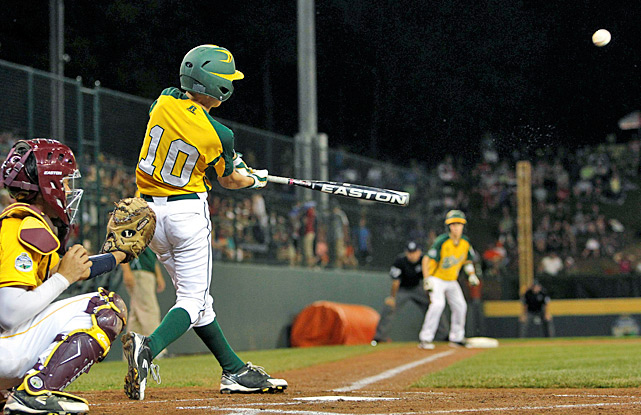 Hance Smith (No. 10) connects on a grand slam in the first inning to help send Petaluma, Calif., into the Little League World Series U.S. final against Goodlettsville, Tenn. Smith added another homer and finished with five RBIs.