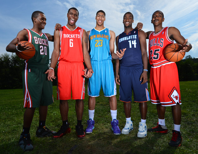 The NBA's annual rookie photo shoot returned to Tarrytown, N.Y. this summer, headlined by five of Kentucky's record-tying six picks in the 2012 Draft (from left: Doron Lamb, Terrence Jones, Anthony Davis, Michael Kidd-Gilchrist and Marquis Teague). Every year, the photo shoot gives fans a chance to see rookies in their new NBA jerseys for the first time, while also providing a few laughs (mostly unintentional) along the way.  Click through our gallery to see some of the best pictures from this year's shoot.