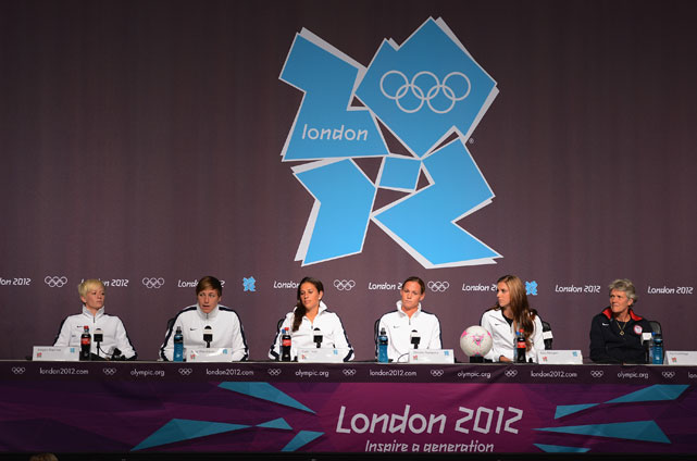 Teammates Megan Rapimoe, Abby Wambach, Carli Lloyd, Christie Rampone, Morgan and coach Pia Sundhage talk to the media during a press conference before the gold medal game against Japan.