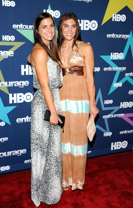Hope Solo (right) and Morgan attend the final season premiere of  Entourage  at the Beacon Theatre.