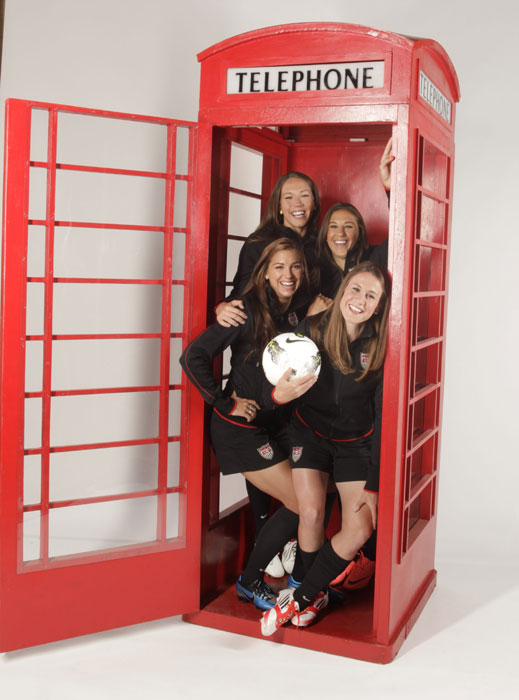 Olympians Lauren Cheney, Carli Lloyd, Heather O'Reilly and Morgan pose for a London-inspired photo shoot at the US Olympic Media Summit.