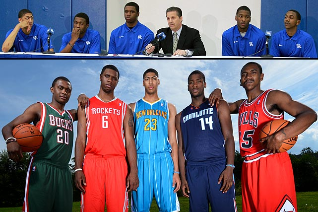 After a dominating season -- and even more impressive tournament run -- Kentucky bid farewell to six of its best early in the 2012 offseason during the NBA draft. Anthony Davis (Hornets), Michael Kidd-Gilchrist (Bobcats), Marquis Teague (Bulls), Terrence Jones (Rockets), Darius Miller (Hornets), Doron Lamb (Bucks) were all selected within the first and second rounds.