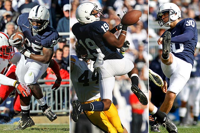 In the wake of the heavy sanctions placed on Penn State on July 23 following the Jerry Sandusky scandal, the Nittany Lions were free to transfer to another school without having to sit out a year. Nine players left Happy Valley in RB Silas Redd (USC), WR Justin Brown (Oklahoma), kicker/punter Anthony Fera (Texas), QB Rob Bolden (LSU), TE Kevin Haplea (Florida State), LB Khairi Fortt (Cal), OL Ryan Nowicki (Illinois), DT Jamil Pollard (Rutgers) and S Tim Buckley (NC State). With the departures of Bolden, Brown, Fera, Haplea and Redd, Penn State loses 124 of its 251 points from last season.   Pictured from left: Silas Redd, Justin Brown and Anthony Fera