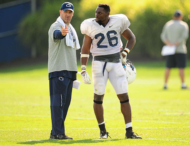 Penn State coach Bill O'Brien makes a point to junior tailback Curtis Dukes at practice on Aug. 16. O'Brien had asked Dukes to hit the hole harder after taking the handoff. Dukes, who had gone down easily in previous plays, gained more yardage in the plays immediately following this chat.
