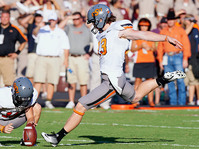 One of the nation's most reliable kickers, Sharp made 22 of 25 field goal tries last year -- his first on the job for the Cowboys -- including the Fiesta Bowl winner. He also boomed 61 kickoffs into the end zone, 23 more than any other player in the country.