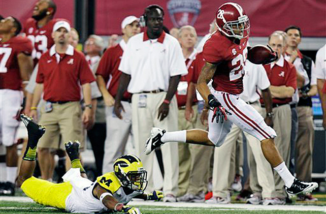Dee Milliner (No. 28) and that Alabama defense showed they can still dominate.Even after sending three starting defenders from last year's national championship team to the NFL as first-round draft picks, the second-ranked Crimson Tide threw around eighth-ranked Michigan while pounding Denard Robinson. Milliner deflected four first-half passes and had an interception that set up another score.