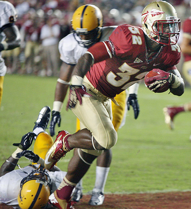 Lonnie Pryor, James Wilder Jr., and Debrale Smiley combined for seven rushing touchdowns as Florida State overpowered Murray State. Wilder (shown) rushed for 106 yards and two touchdowns for FSU, which has outscored its last three FCS foes 190-19.