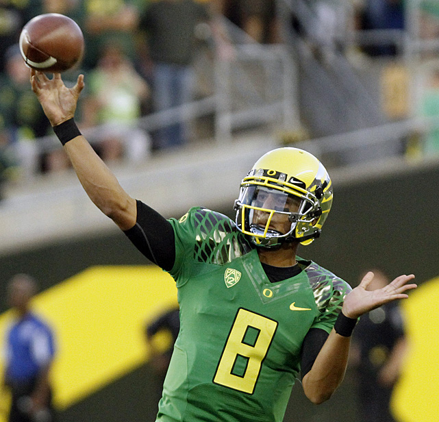 When redshirt freshman Marcus Mariota ran out on to the field at Autzen Stadium, he was nervous about his first start for the Ducks. By the first snap, the butterflies were gone. Mariota debuted for Oregon by passing for 200 yards and three touchdowns. Mariota coolly guided Oregon's speedy spread offense, completing 18-of-22 passes.