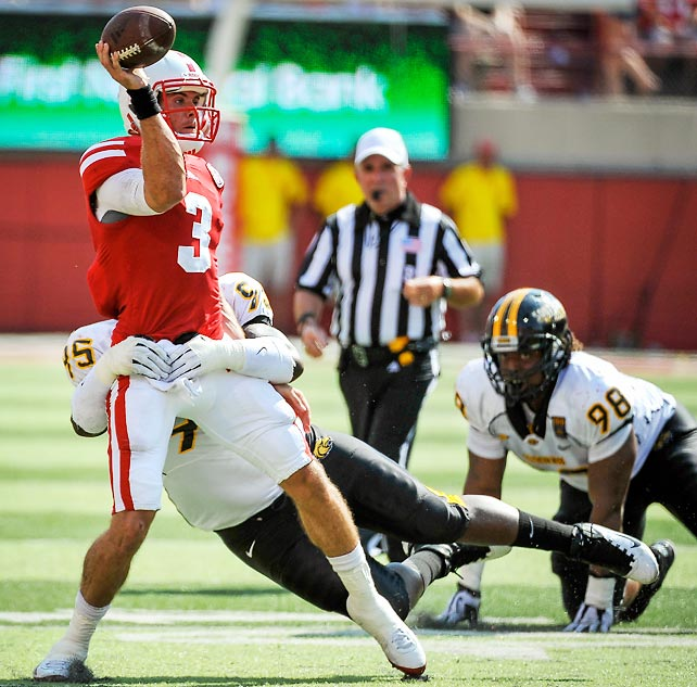 It may have been just one game, but Taylor Martinez (pictured) showed glimpses of his game-breaking explosiveness in Nebraksa's win over Southern Miss. Martinez threw for a career-high 354 yards and five touchdowns, and the Cornhuskers rolled by 29 points. The bad news for Nebraska? Running back Rex Burkhead missed the final three quarters after injuring his left knee.