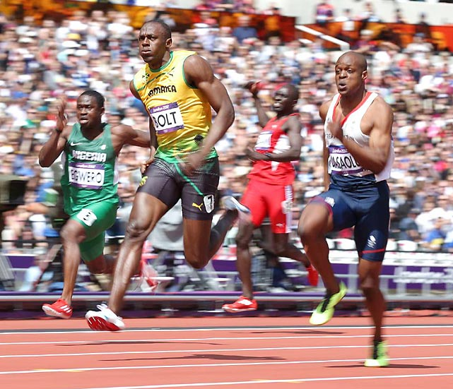 Usain Bolt easily finished first in his 100m qualifier heat.  Bolt would go on to reach the finals, where he clinched his second consecutive Olympic gold medal with a time of 9.63, an Olympic record.