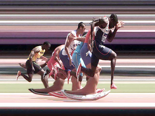 Making his first Olympic appearance since 2000, Britain's Dwain Chambers, who served a ban for doping, pulled away from the field in his 100-meter heat. (The photo was shot with a finish-line-style strip camera.)