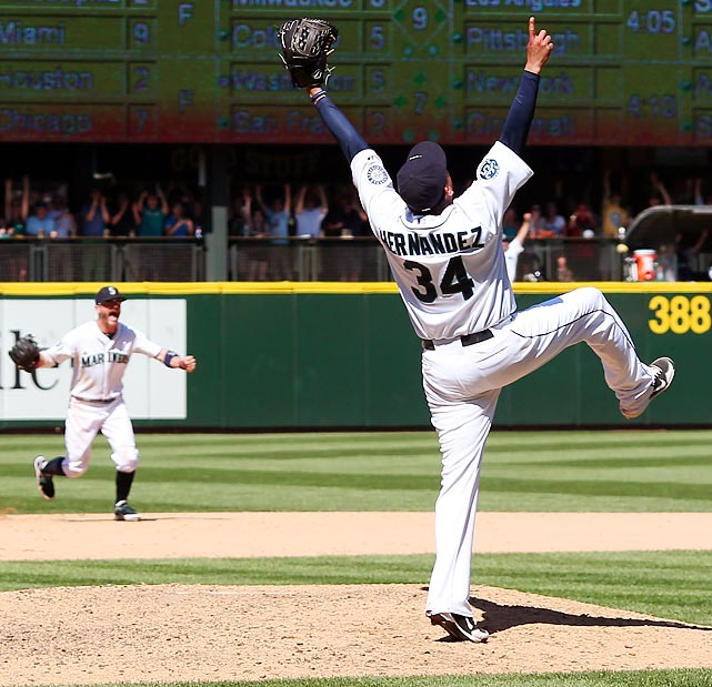 Seattle Mariners pitcher Felix Hernandez achieved perfection against the Tampa Bay Rays on Aug. 15 in Washington.