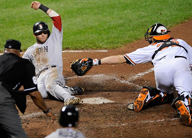 Boston's Dustin Pedroia safely slidespast Baltimore catcher Matt Wieters.