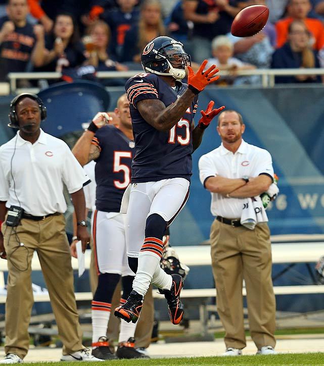New Bears receiver Brandon Marshall failed to reach double digits in receptions in any game last season, the first time that's happened since his rookie year of 2006 season in Denver. Reunited with ex-Broncos quarterback Jay Cutler in Chicago, Marshall will have at least five such games this season, a career-high total in that department. He and Cutler combined for three 10-plus-catch games in 2007 and 2008 in Denver.