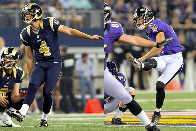 By late September, thunder-footed rookies Greg Zuerlein in St. Louis and Justin Tucker in Baltimore will make the Rams and Ravens very happy they got younger at kicker. Jeff Fisher and John Harbaugh will find themselves feeling good about attempting any field goal from 55 yards on in. And they weren't going to say that about veterans Josh Brown or Billy Cundiff.
