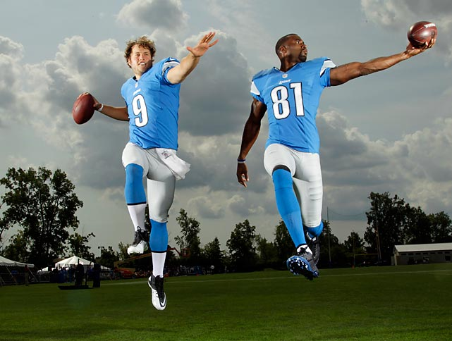 Detroit Lions quarterback Matthew Stafford and wideout Calvin Johnson grace the cover of SI's NFL 2012 Preview issue. Here are some outtakes of the magazine's photoshoot with the duo.