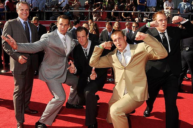 At the ESPYs Gordy chaperoned as (from left) Dan, Gordie, Rob and Glenn mugged on the red carpet.