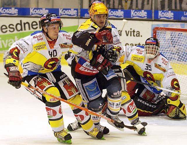 Dany Heatley, left, played for colorful Bern of the Swiss league.