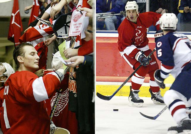 On Dec. 2, 2004, an NHL Pro team faced the under-18 USA team at the University of Michigan. Fedorov (left) signs autographs. Chris Chelios (right) brings the puck up the ice.