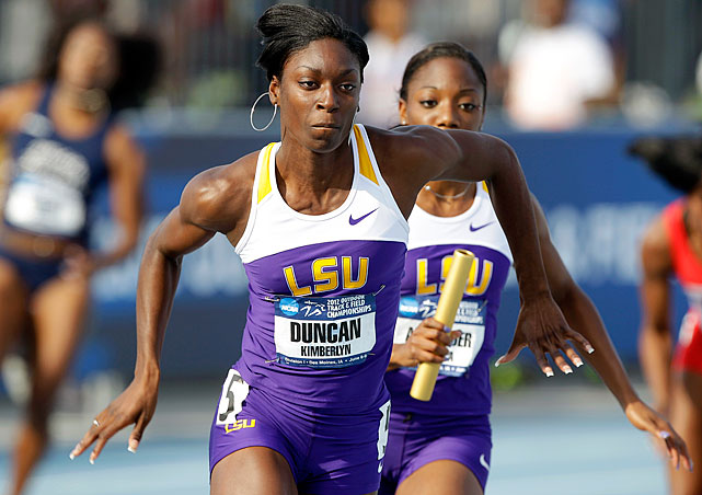 The 200-meter specialist had a huge year for LSU in 2012, winning the NCAA title in the 200 meters, finishing second in the 100 and leading the Tigers to the team championship. Duncan won the NCAA Women's Track Athlete of the Year award and Honda Sports Award for track and field. But she narrowly missed a spot in the London Games, taking fourth in the 200 at the U.S. Olympic Trials.