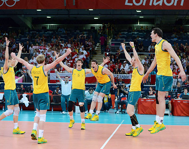The Australian volleyball team rose to the ovation after rising to the occasion and beating  favorite Poland 3--1 in preliminary play. The Volleyroos nevertheless failed to advance to the final eight.