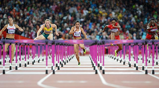 Sally Pearson of Australia (second from left) won the women's 100-meter hurdles in a world record time of 12.35 seconds, relegating Dawn Harper of the U.S. to second place.