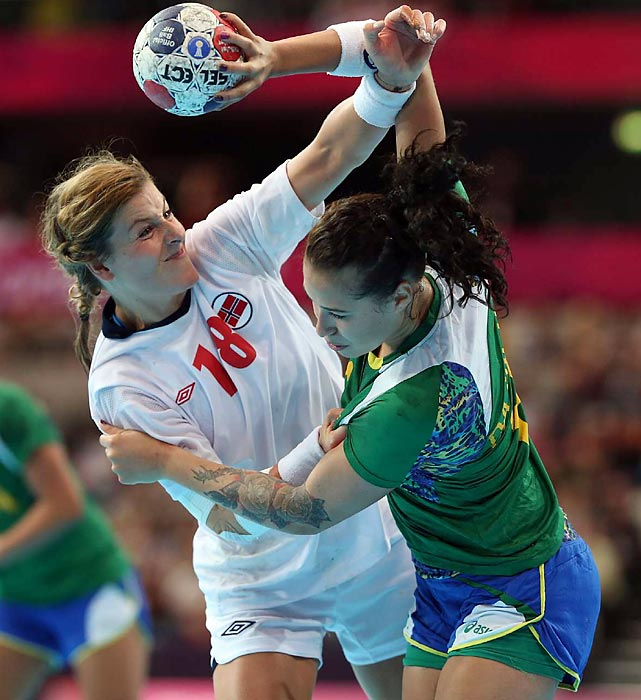 Linn-Kristin Riegelhuth Koren of Norway defends during the Norway-Brazil handball quarterfinals.