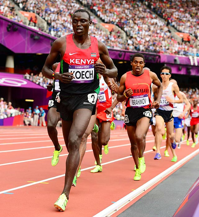 Isiah Kiplangat Koech competes in the men's 5000-meter preliminary race, finishing in second and qualifying for the Aug. 11 final.