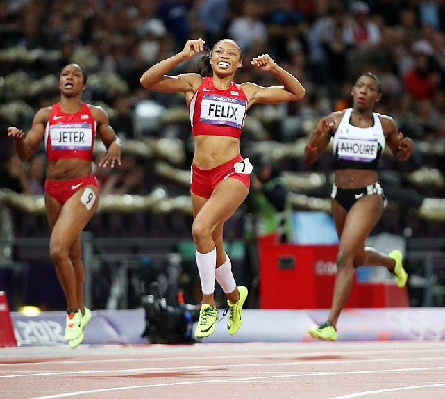 Allyson Felix ran a textbook turn and pulled away from silver medalist Shelly-Ann Fraser-Pryce and bronze medalist Carmelita Jeter to win her first individual Olympic gold with a time of 21.88 in the 200-meter final.