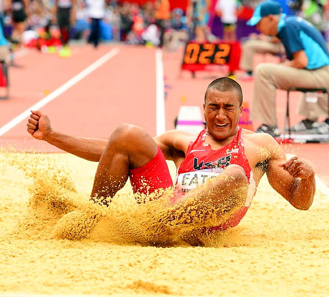 Ashton Eaton also won the long jump portion of the decathlon on Wednesday, which wraps up on Thursday with competition in five more events.