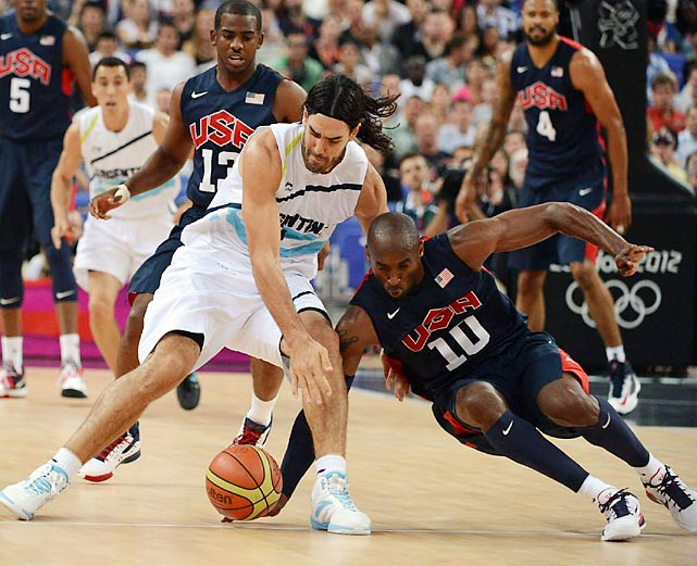 Kobe Bryant of the U.S. stooped to scoop a loose ball out from under Argentina's Luis Scola during the two teams' semifinal game in the North Greenwich Arena. The U.S. won 109-83 to advance to the championship game against Spain.