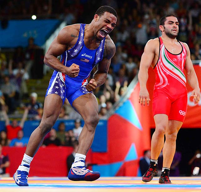 Jordan Burroughs of the U.S. defeated Sadegh Saeed Goudarzi of Iran in the freestyle 74kg division to earn the country's first wrestling gold medal at the London Games. It marked the 38th consecutive international freestyle win for the 24-year-old Burroughs.