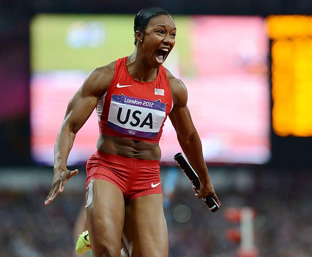Carmelita Jeter reacts after completing the anchor leg as the U.S. won the 4x100 relay in world record time (40.82) on Friday. Jeter, Tianna Madison, 200-meter champion Allyson Felix and Bianca Knight cut more than a half-second off the old record of 41.37 run by East Germany in 1985.