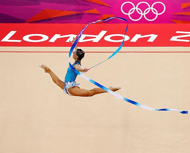 Chrystalleni Trikomiti of Cyprus soars during the rhythmic gymnastics individual all-around competition.