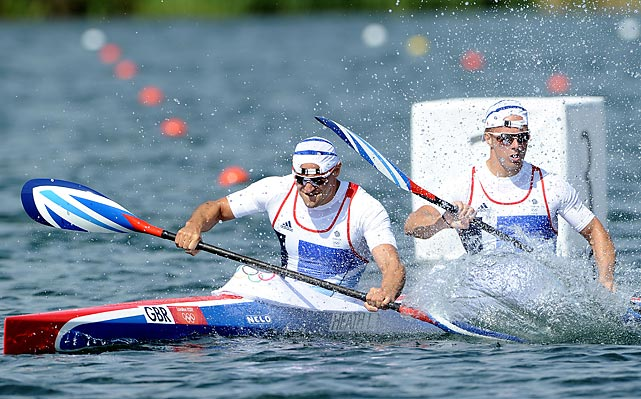 Liam Heath and Jon Schofield of Great Britain in action during the Kayak Double (K2) 200m Canoe Sprint.