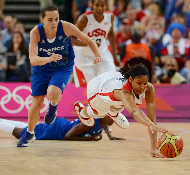 With hustle like this play by Maya Moore, the U.S. has now won 41 consecutive games in the Olympics, and only one team has come within single digits of the team since the streak started in 1996.